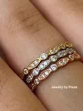 14k Solid Gold Diamond Eternity Band Stackable Ring Endless Wedding Band Milgrai