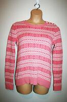 VTG Womens vinyard vines Pink Cotton Knit Nautical Seahorses Nordic Sweater XL