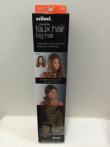 """Scunci Styleable Faux Hair Clip In Big Faux Hair 16"""" Blonde NIB Many Styles"""