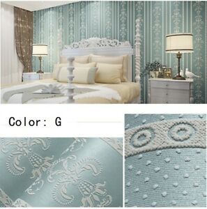 3M Embossed Textured Floral Non-woven Wallpaper Wall Sticker Self-adhesive Home