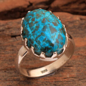 Chrysocolla Gemstone 925 sterling Silver Jewelry Handmade Ring Size US 7