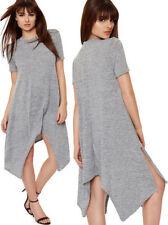 Magliette da donna grigia basica con girocollo