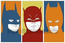 Original Batman Art Print Poster Cowl Costume Adam West Michael Keaton 1989 mask