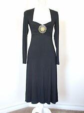 NEW VERTIGO PARIS SLEEK BLACK DRESS BRASS MEDALLION & CITRUS RHINESTONES  SZ S