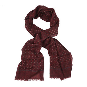 Isaia Burgundy and Slate Gray Dot Print Lightweight Cashmere and Wool Scarf NWT