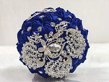 Luxury Sparkle Rhinestone Brooch Bouquet Bride Wedding Silk Blue Rose with Jewel