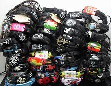 50pcs Top Styles Mixed Men Women Fashion Leather Bracelets Wristbands Wholesale