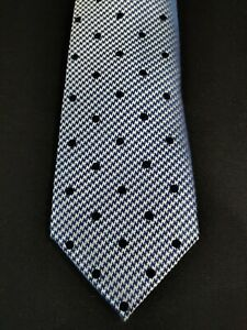 Sean John Men's Blue Classic Flocked Dot Houndstooth Neck Tie Silk $69 NWT