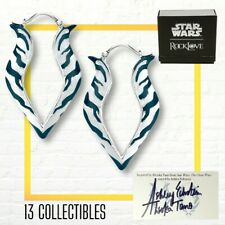 More details for rocklove star wars ahsoka tano earrings w/ signed card ashley eckstein le 600