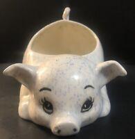 Vintage Pig Planter Piggy Big Eyes Eyelash Figurine White Speckled Blue Kitsch