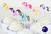 24P My little Pony Party Cupcake Cakes Birthday Decorating Topper Picks Flag Set