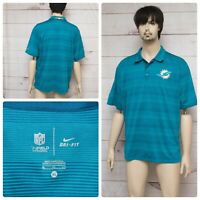 Nike Miami Dolphins Size XL Onfield Men's Blue Striped Short Sleeve Polo Shirt
