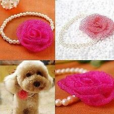 Pearl And Pink Silk Flower Necklace Dog Accessory