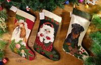Hand Crafted Vivid Animals Kitten Puppy Needlepoint Christmas Stocking