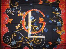 """Designer GUY LAROCHE red BLUE white BUTTERFLY orange PARIS chic 34"""" SILK SCARF"""