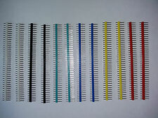 12 Pcs 40 Pin Male Single Row Headers Multi Coloured 2.54mm Pitch - UK seller