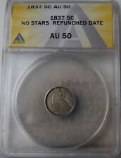 "1837 ""No Stars Repunched Date"" Liberty Seated Half Dime ""ANACS AU50"""