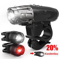 USB Wiederaufladbare LED Fahrrad Beleuchtung Frontlicht & Rücklicht Fahrradlicht