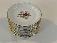 """Vintage Johann Haviland Bavaria German Porcelain """"Moss Rose"""" Set of 8 Coasters"""