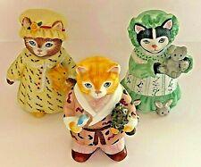"Schmid~Kitty Cucumber~Set of 3 ""Ginger, J.P. Buster & Ellie""~Bedtime~1987~ Euc"