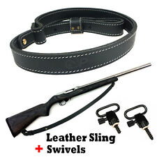 Black Leather Rifle Gun Sling_Adjust-Handmade _with 1 set Quick Detach Swivels
