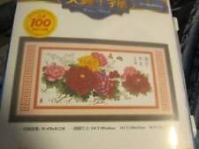 TianYi Red, Orange & Pink Flowers Cross Stitch KIT #16668-42.5x21 in/108x53cm