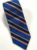Robert Talbott Carmel Tie Best Of Class Silk Navy Blue Orange Stripe Luxury