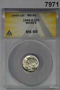 1945 S MERCURY DIME MICRO S SCARCE DATE ANACS CERTIFIED MS65 FLASHY! #7971
