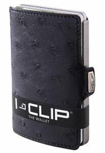 I Clip wallet Black Ostrich -NIB