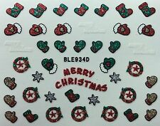 Nail Art 3D Glitter Decal Stickers Merry Christmas Mittens Stockings BLE934D