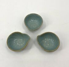 Cindy Crawford Oceanview Small Bowl Seafoam Green Blue Shell Nautilus Set of 3
