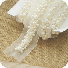 Dress Edging Trim Pearls Bridal Gown Applique Beaded Costume Wedding Ribbon 1 M