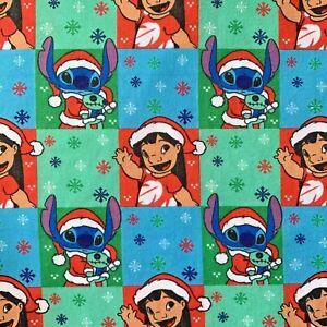 OFFCUT DISNEY LILO AND STITCH ALIEN CHRISTMAS SANTA POLYCOTTON FABRIC CHARACTER