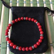 MSM by JH Spiritual Protection Bracelets Stones Red Coral with Sterling Silver