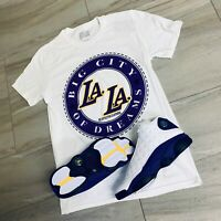 Effectus Clothing Tee to match Jordan Retro 13 Laker Sneakers. LA LA Tee