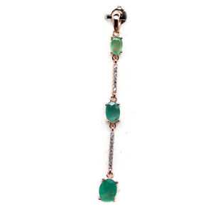 NATURAL 5 X 7 mm. GREEN EMERALD & WHITE CZ 925 STERLING SILVER PENDANT