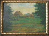 ::HERBERT GRASS *1886 °BAUERNHAUS ÖLGEMÄLDE WIESEN WORPSWEDE RAHMEN ANTIK FELDER