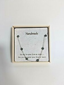 Handmade Women's Crystal Necklace Black Design Never Gone From My Heart W/Box