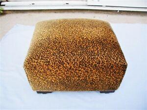 "Vintage Plush Leopard Print Cushioned 12"" FootStool Ottoman ""Clean"""