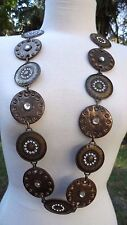 "70s-80s Bronze Coin Metal & RS Vinyl Chain Belt or Large Costume Necklace 43""lg"