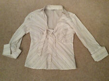 Ladies Long Sleeve Striped Blouse Size 10
