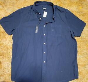 Express Men's Short Sleeve Button Down Shirt Size XXL Tall Navy Blue NWT