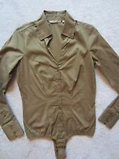 SILVIAN HEACH FITTED DARK OLIVE GREEN BUTTON DOWN SHIRT TOP BODYSUIT XSMALL XS