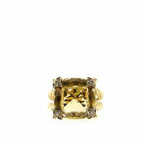 David Yurman Cushion on Point Ring 18K Yellow Gold with Diamonds and Lemon