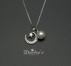 925 Sterling Silver Zircon Moon& Pearl Pendant Necklace
