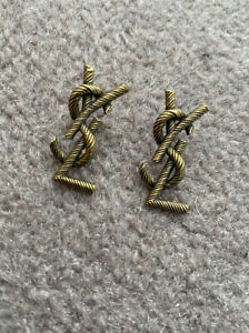 YSL Saint Laurent Twisted Rope Effect & Entwined Style Earrings.