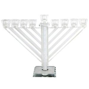 Crystal Menorah Chabad Inlaid with Stones Jerusalem Home Decor Hanukkah 21cm