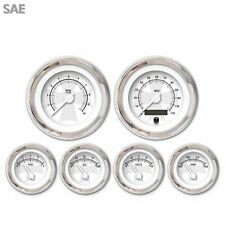 6 Gauge Set Speedo Tach Oil Temp Fuel Volt Iron Cross White chrome LED 043WC SAE