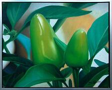 Henri Gautier *1955 Hyper-Realismus Grüne Pepperoni Ast Öl/Leinwand 50 x 60 cm