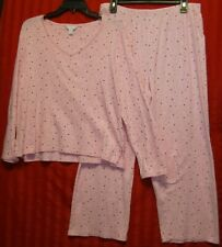 42b7c0f18aeb Women's Charter Club Pajama Lounge Set Cotton Pink Polka Dot Size L  Excellent